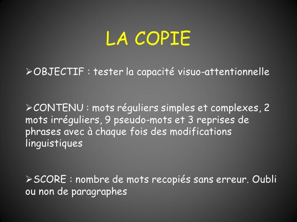 LA COPIE OBJECTIF : tester la capacité visuo-attentionnelle