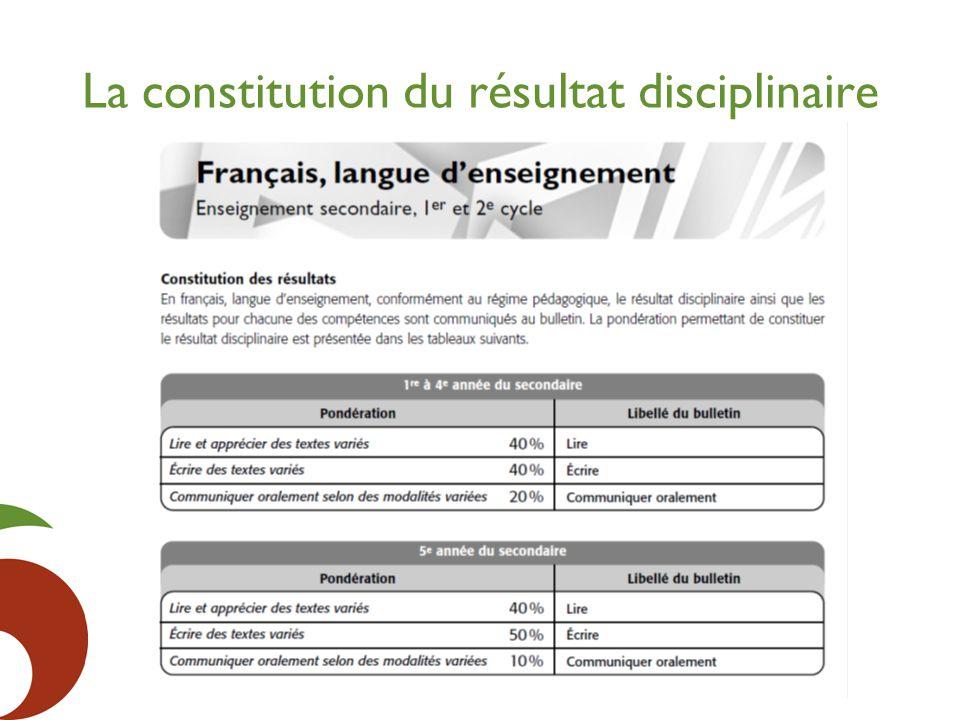 La constitution du résultat disciplinaire
