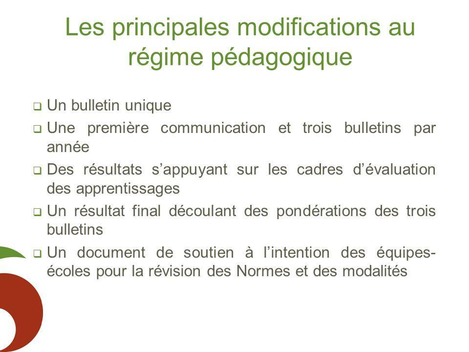 Les principales modifications au régime pédagogique