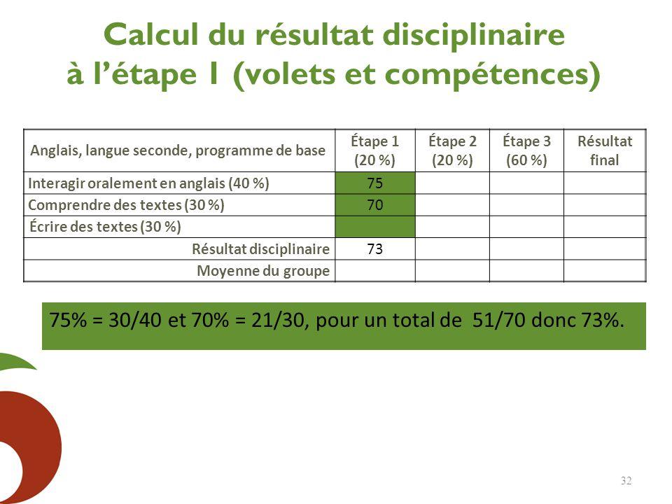 Calcul du résultat disciplinaire à l'étape 1 (volets et compétences)