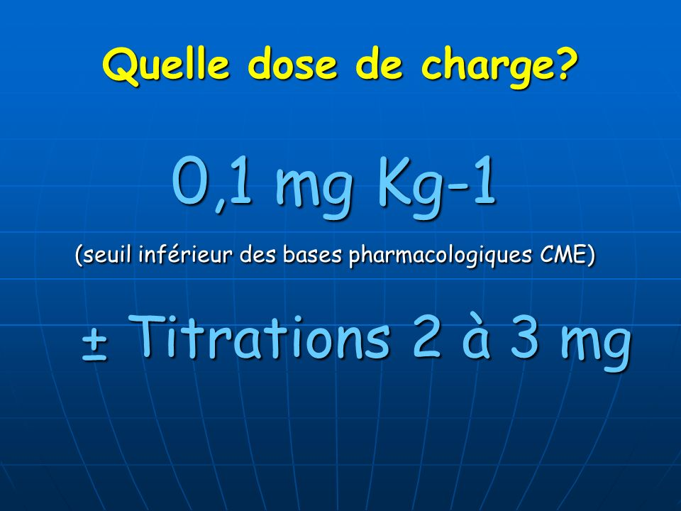 (seuil inférieur des bases pharmacologiques CME)