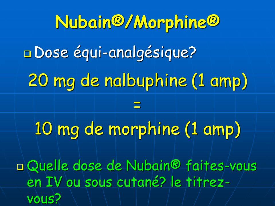 Nubain®/Morphine® 20 mg de nalbuphine (1 amp) =