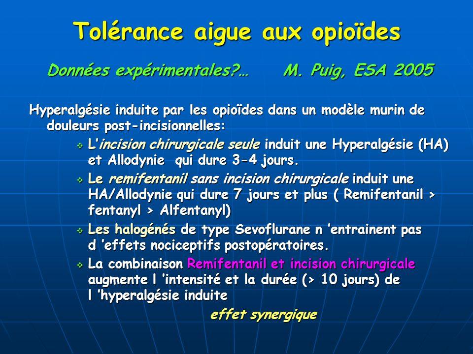 Tolérance aigue aux opioïdes