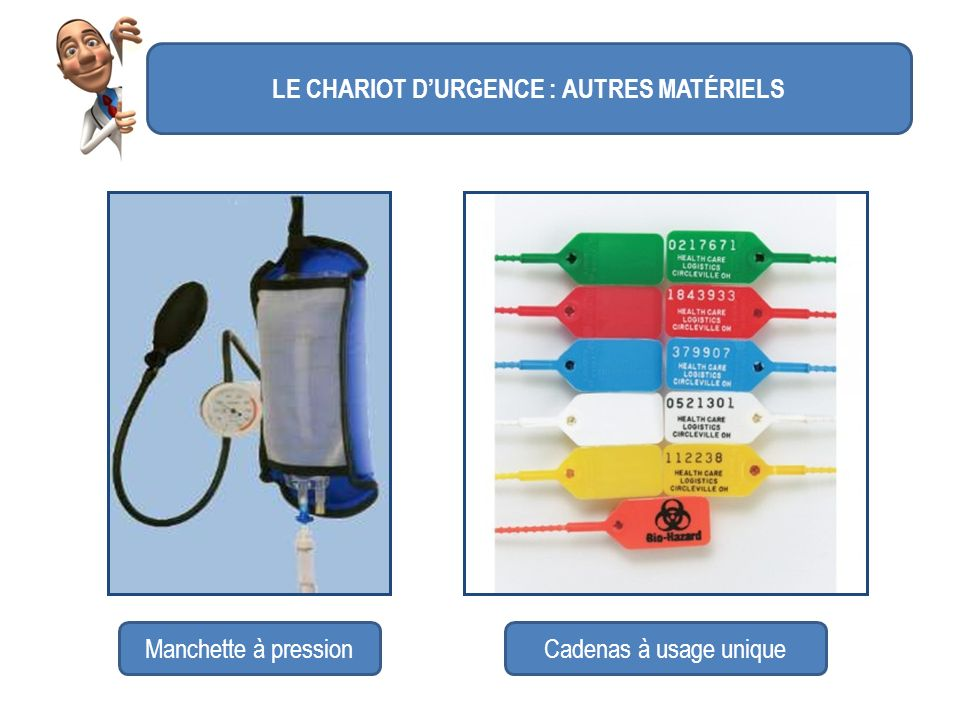 LE CHARIOT D'URGENCE : AUTRES MATÉRIELS