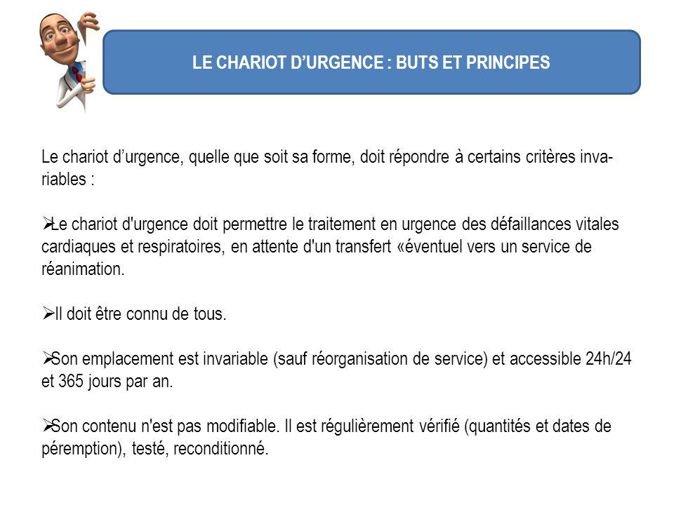 LE CHARIOT D'URGENCE : BUTS ET PRINCIPES