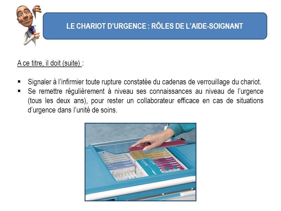 LE CHARIOT D'URGENCE : RÔLES DE L'AIDE-SOIGNANT