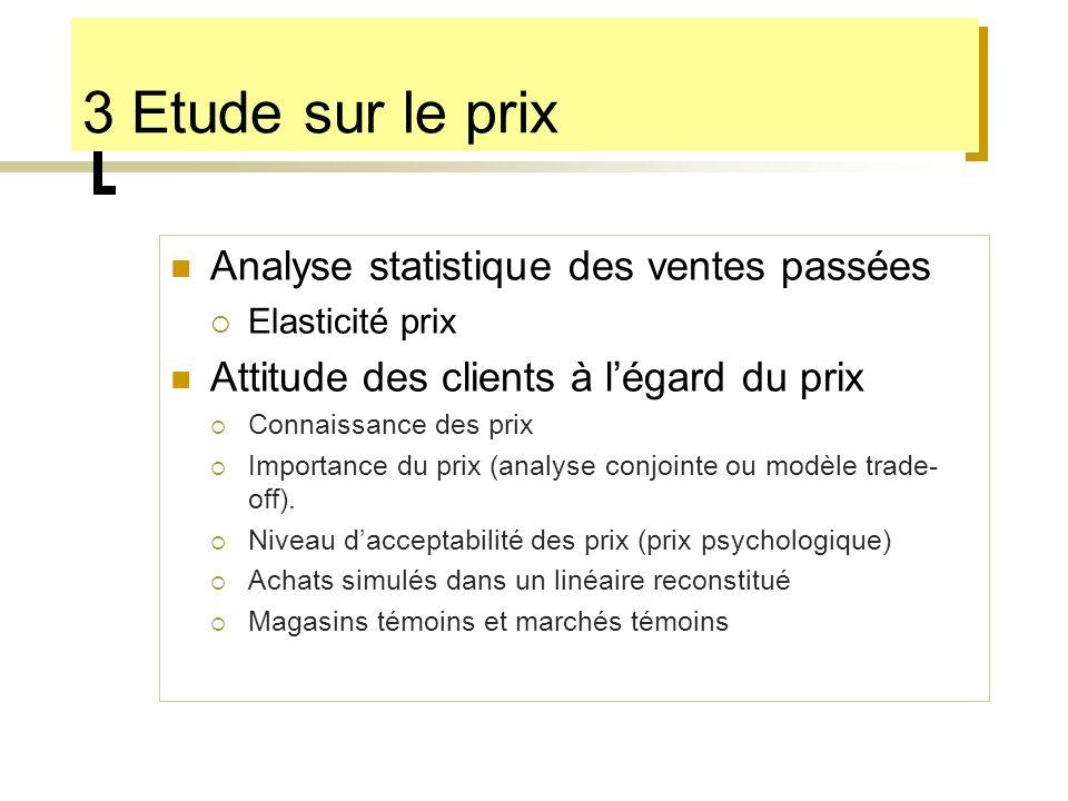 3 Etude sur le prix Analyse statistique des ventes passées
