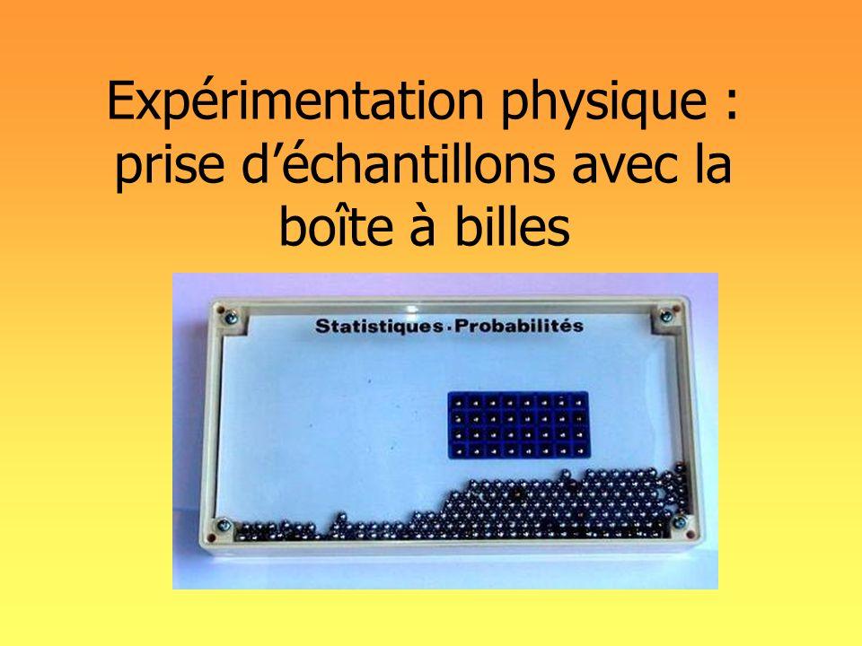 Expérimentation physique : prise d'échantillons avec la boîte à billes