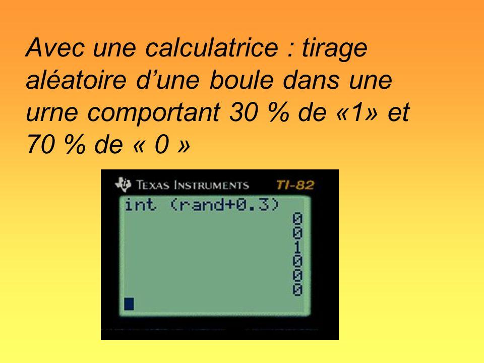 Avec une calculatrice : tirage aléatoire d'une boule dans une urne comportant 30 % de «1» et 70 % de « 0 »