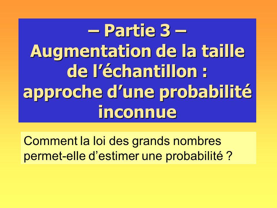 – Partie 3 – Augmentation de la taille de l'échantillon : approche d'une probabilité inconnue