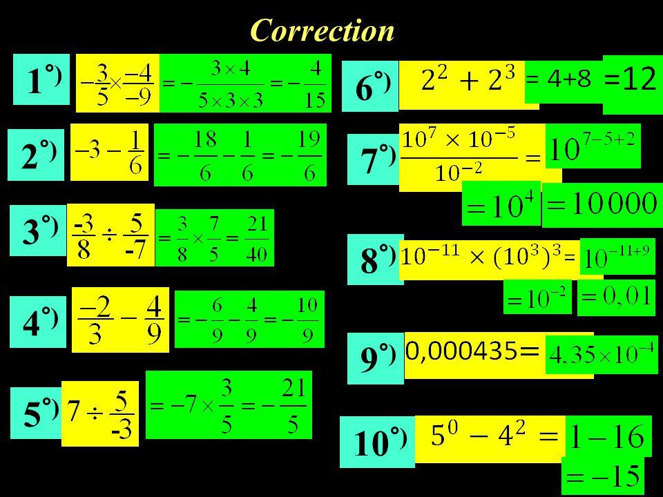Correction 1°) 6°) 2°) 7°) 3°) 8°) 4°) 9°) 5°) 10°)