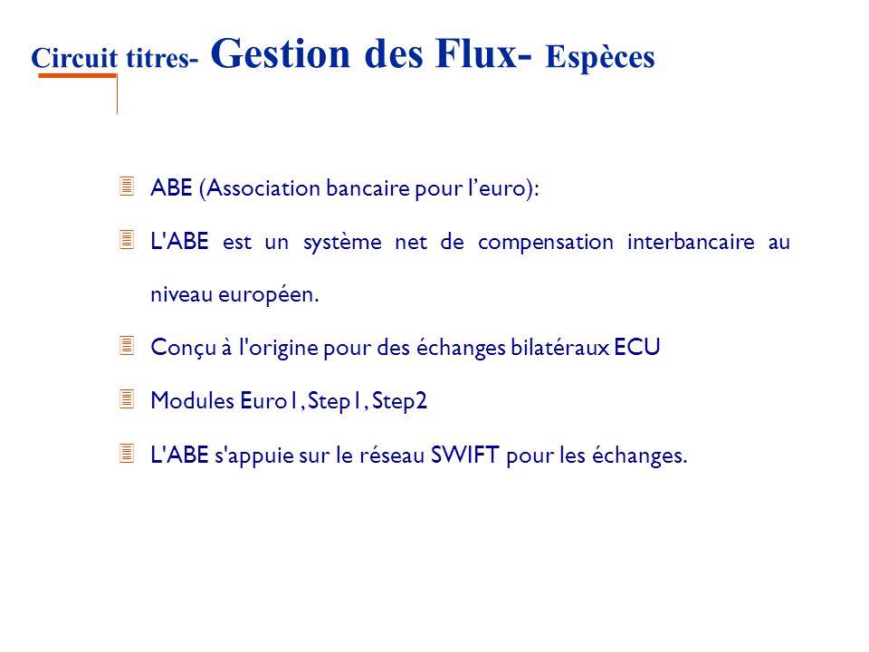 Circuit titres- Gestion des Flux- Espèces