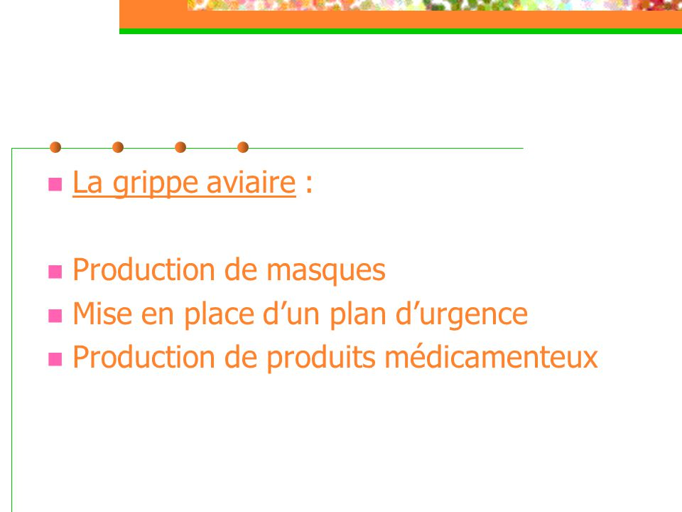 La grippe aviaire : Production de masques. Mise en place d'un plan d'urgence.