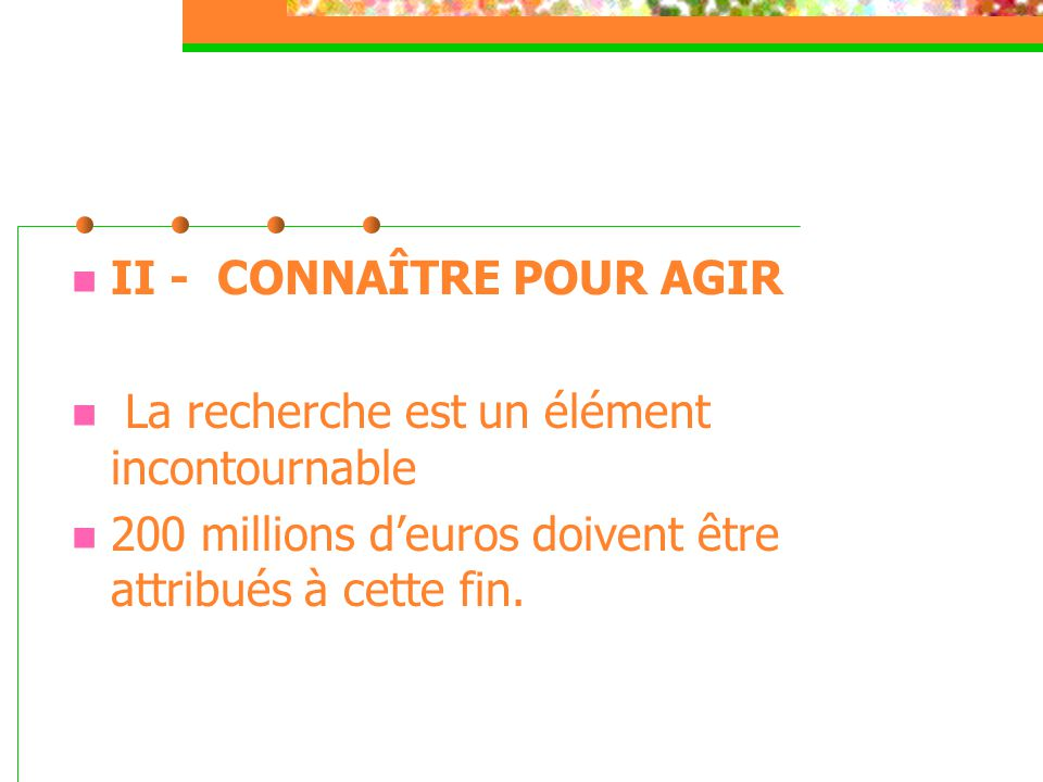 II - CONNAÎTRE POUR AGIR