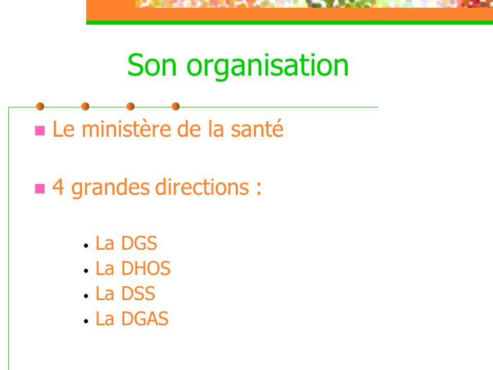 Son organisation Le ministère de la santé 4 grandes directions :