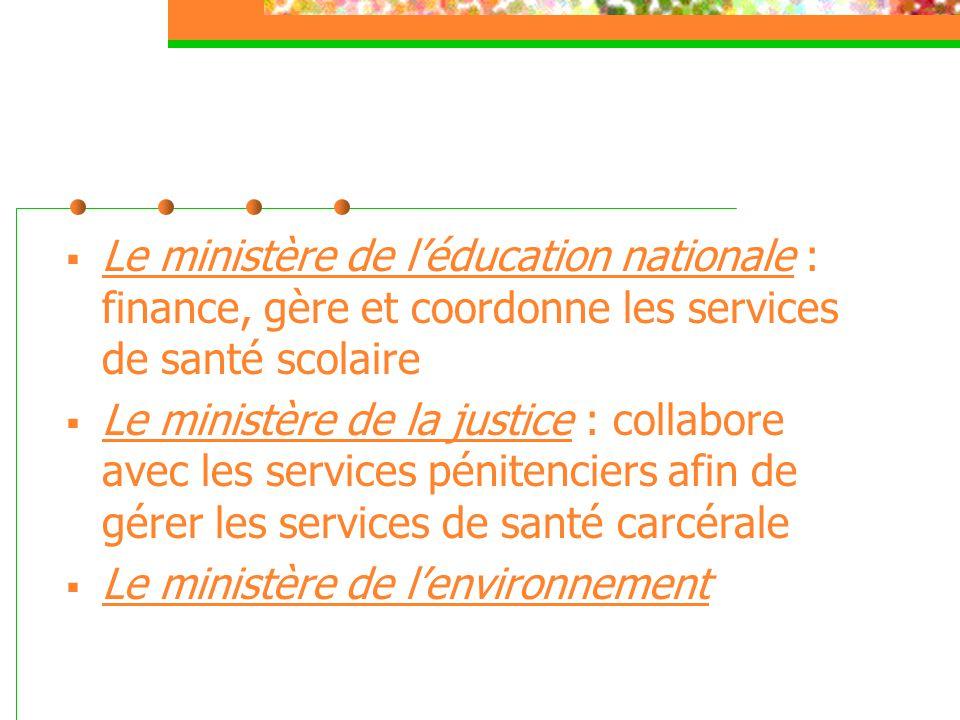 Le ministère de l'éducation nationale : finance, gère et coordonne les services de santé scolaire