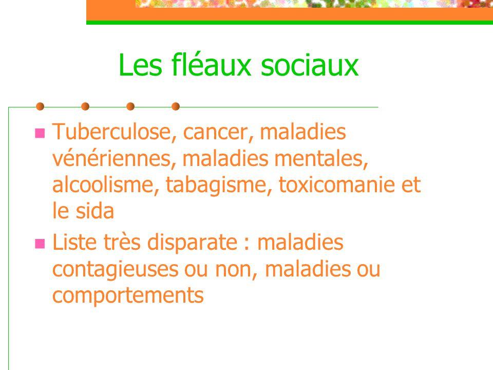 Les fléaux sociaux Tuberculose, cancer, maladies vénériennes, maladies mentales, alcoolisme, tabagisme, toxicomanie et le sida.