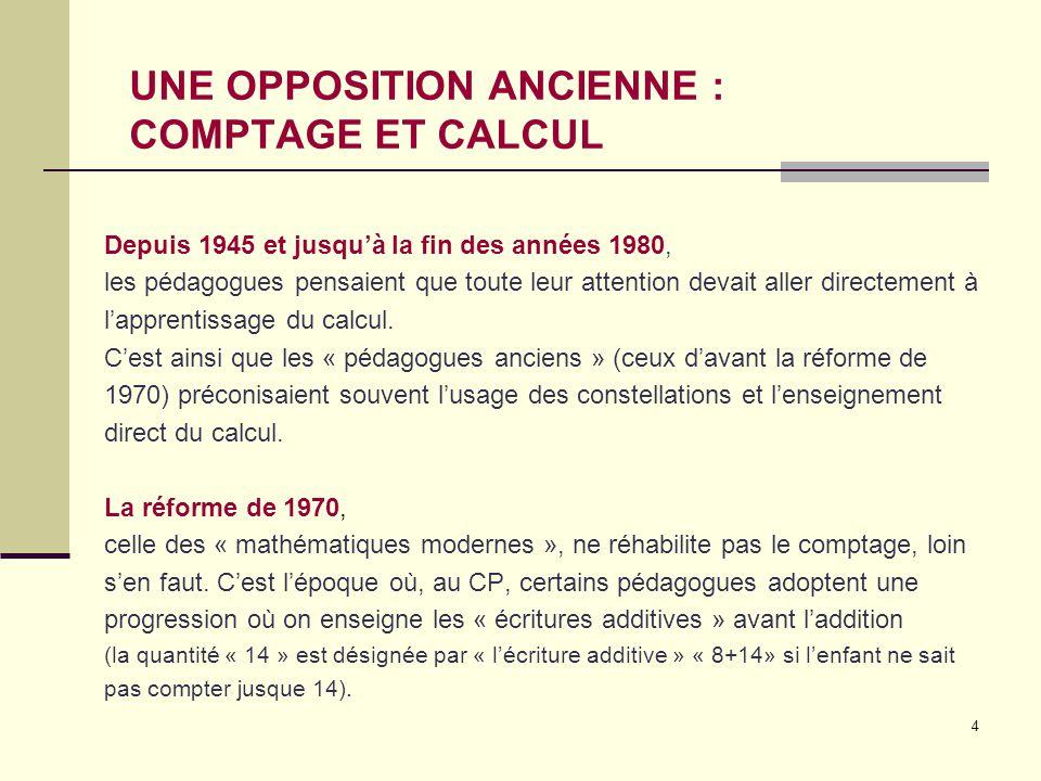 UNE OPPOSITION ANCIENNE : COMPTAGE ET CALCUL
