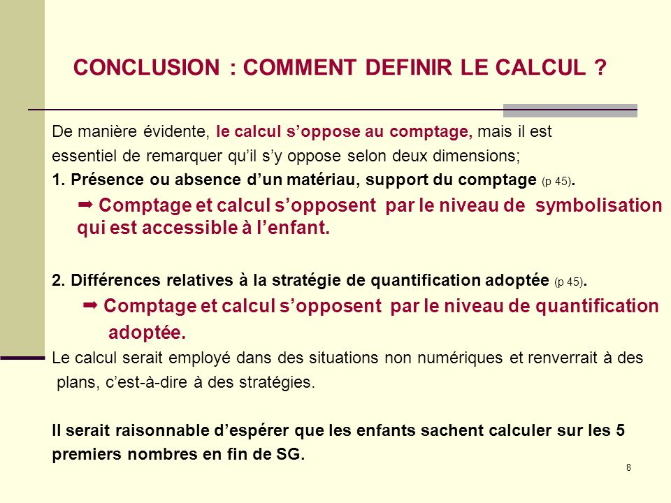 CONCLUSION : COMMENT DEFINIR LE CALCUL