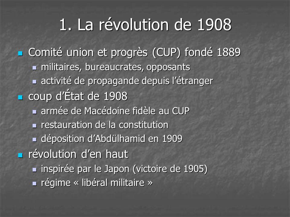 1. La révolution de 1908 Comité union et progrès (CUP) fondé 1889