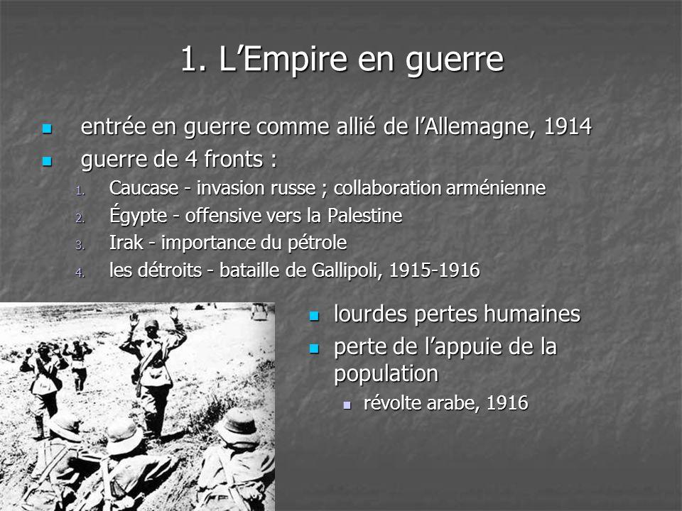 1. L'Empire en guerre entrée en guerre comme allié de l'Allemagne, 1914. guerre de 4 fronts : Caucase - invasion russe ; collaboration arménienne.