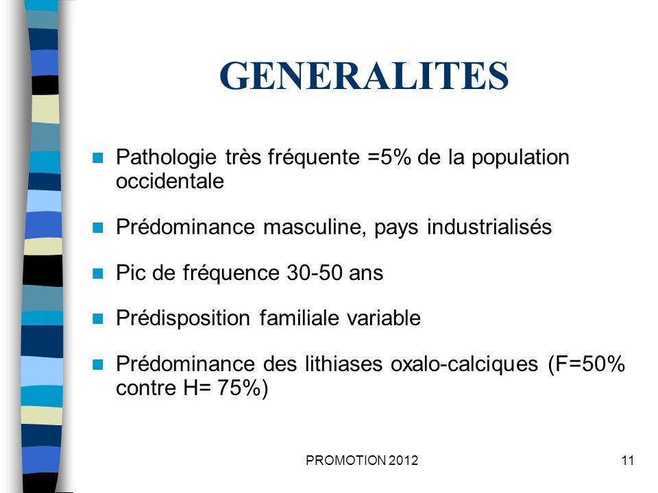 GENERALITES Pathologie très fréquente =5% de la population occidentale