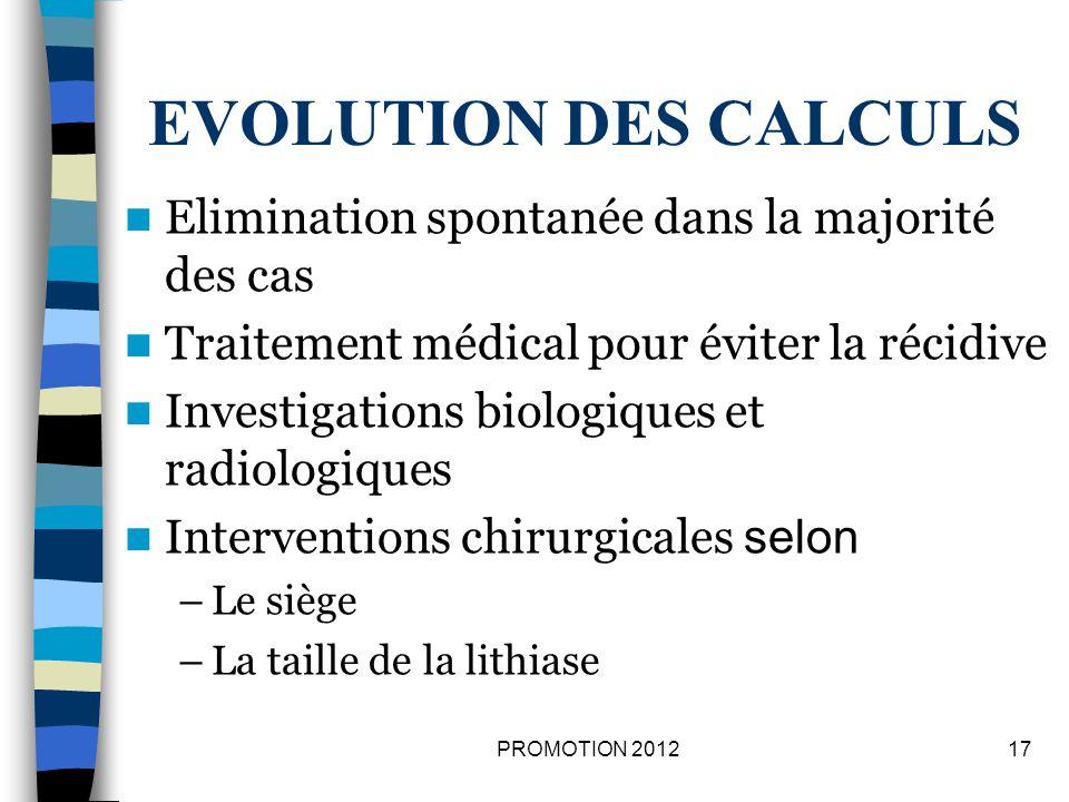 EVOLUTION DES CALCULS Elimination spontanée dans la majorité des cas