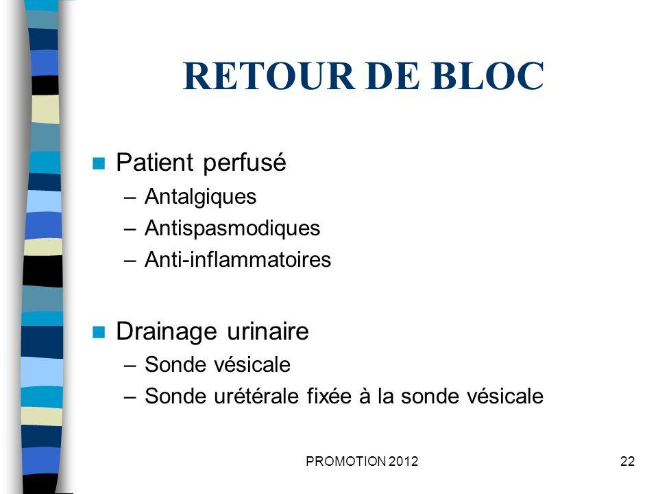 RETOUR DE BLOC Patient perfusé Drainage urinaire Antalgiques