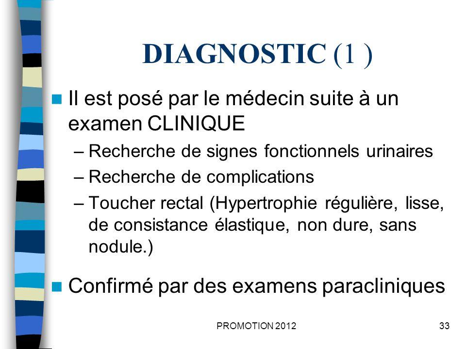 DIAGNOSTIC (1 ) Il est posé par le médecin suite à un examen CLINIQUE