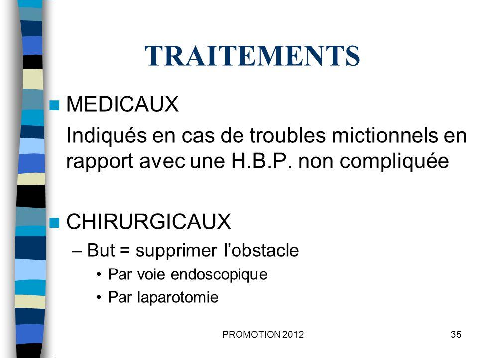 TRAITEMENTS MEDICAUX. Indiqués en cas de troubles mictionnels en rapport avec une H.B.P. non compliquée.