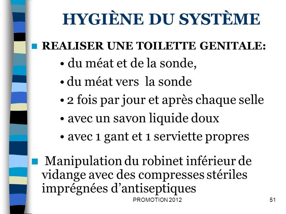 hygiène du système • du méat et de la sonde, du méat vers la sonde