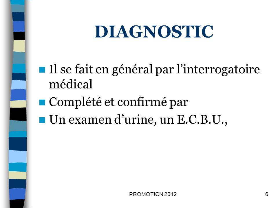 DIAGNOSTIC Il se fait en général par l'interrogatoire médical