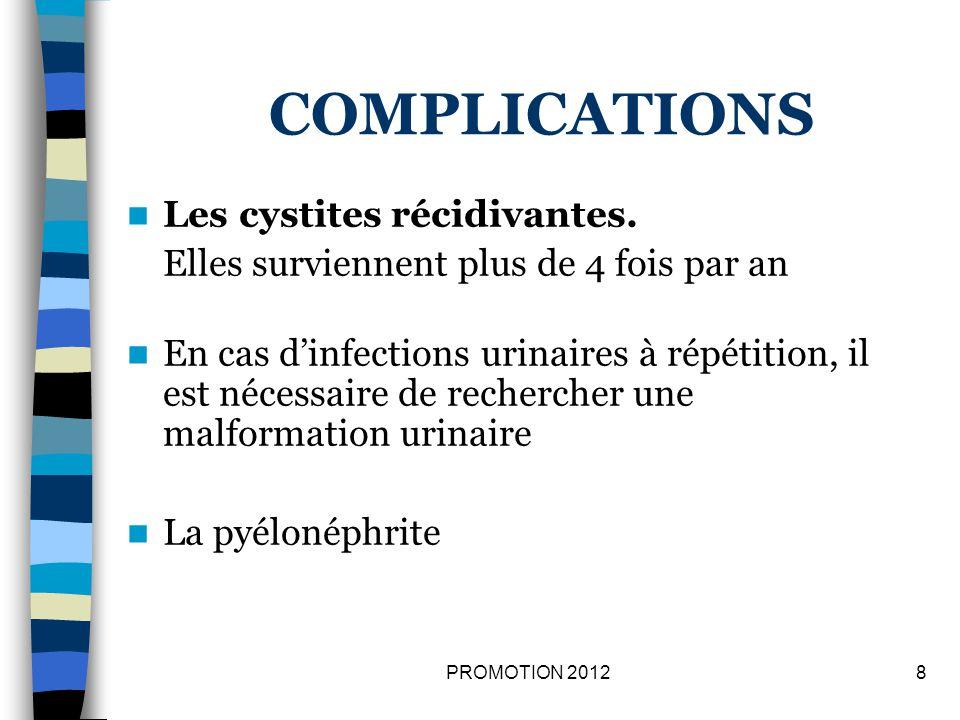 COMPLICATIONS Les cystites récidivantes.