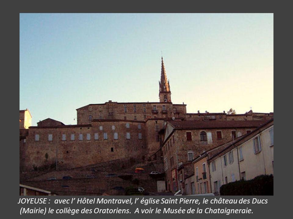 JOYEUSE : avec l' Hôtel Montravel, l' église Saint Pierre, le château des Ducs