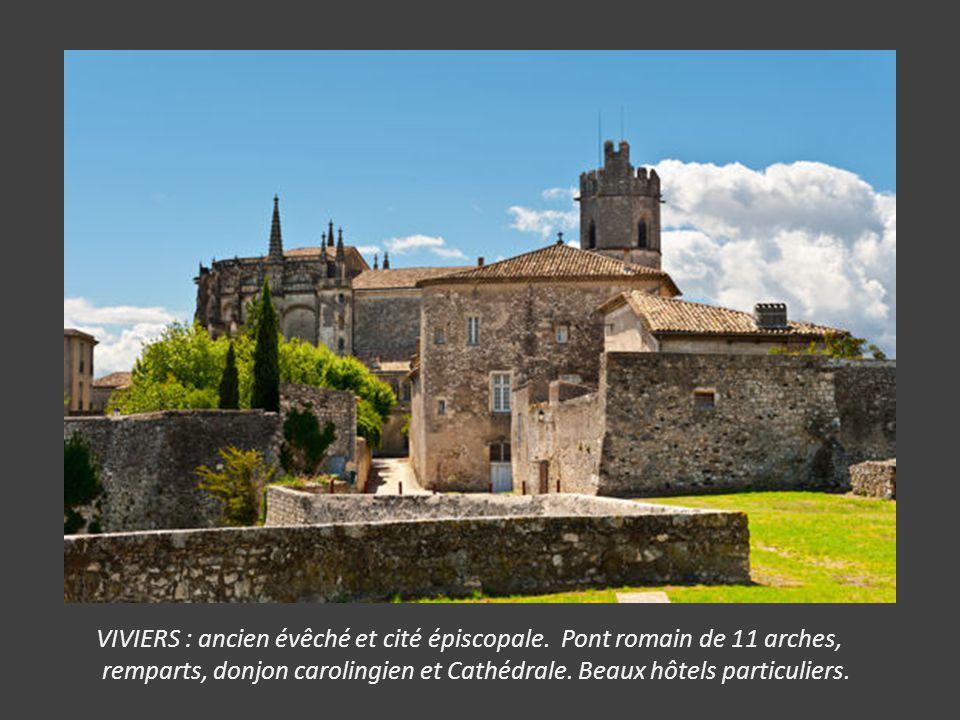 VIVIERS : ancien évêché et cité épiscopale. Pont romain de 11 arches,