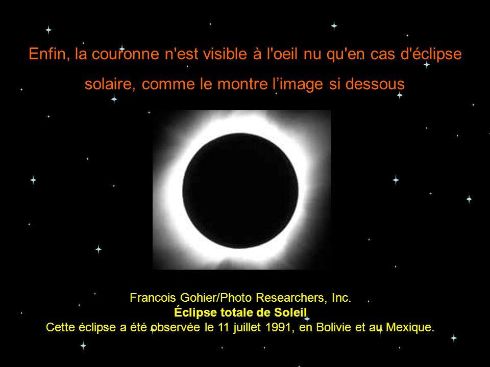 Enfin, la couronne n est visible à l oeil nu qu en cas d éclipse solaire, comme le montre l'image si dessous