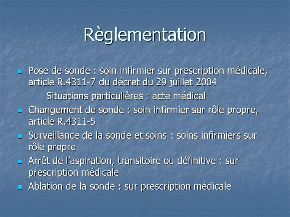 Règlementation Pose de sonde : soin infirmier sur prescription médicale, article R.4311-7 du décret du 29 juillet 2004.