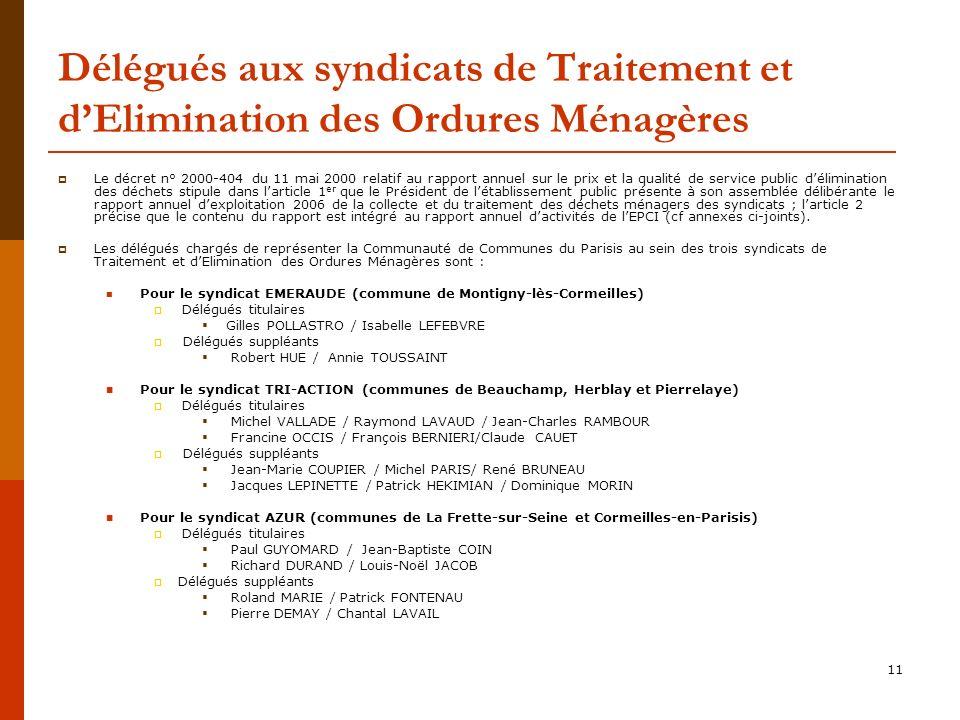 Délégués aux syndicats de Traitement et d'Elimination des Ordures Ménagères