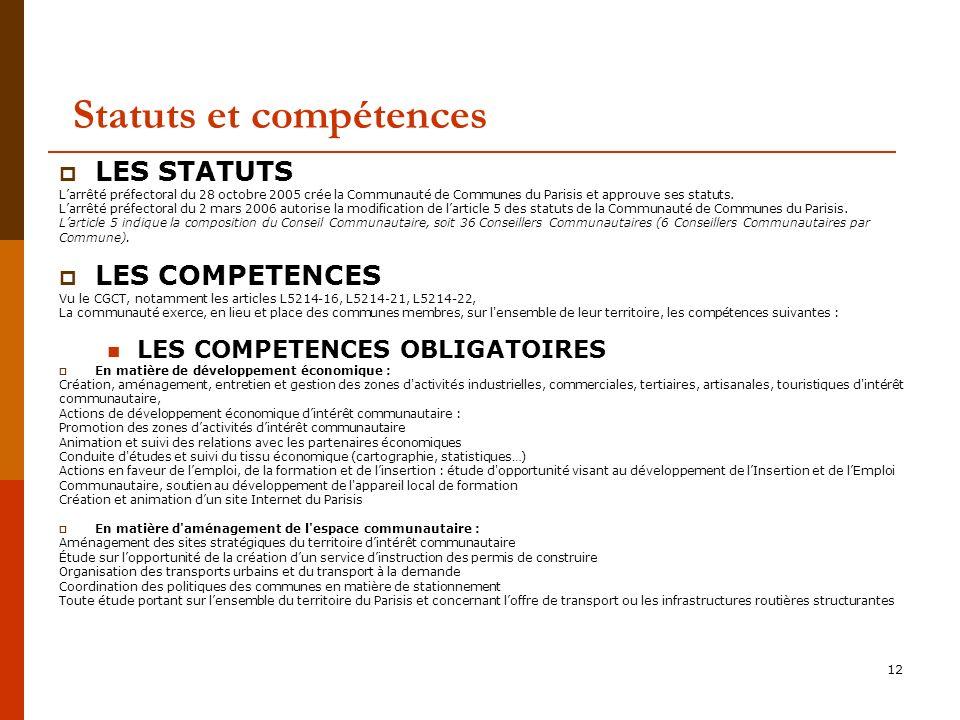 Statuts et compétences