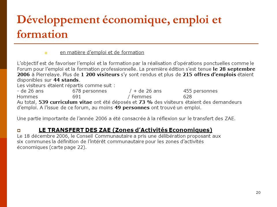 Développement économique, emploi et formation