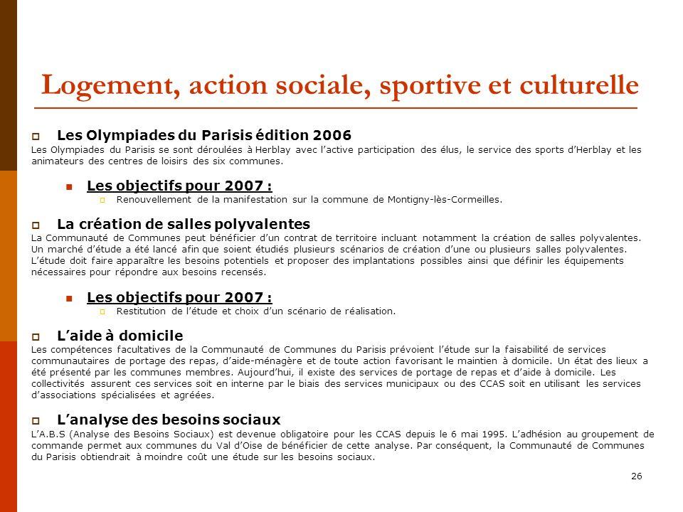 Logement, action sociale, sportive et culturelle