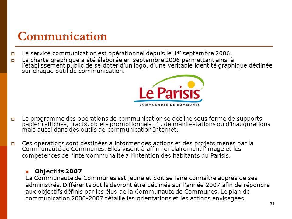 Communication Le service communication est opérationnel depuis le 1er septembre 2006.
