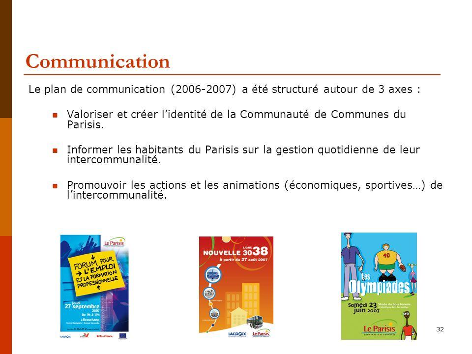Communication Le plan de communication (2006-2007) a été structuré autour de 3 axes :