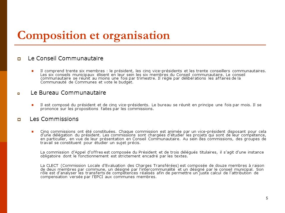 Composition et organisation