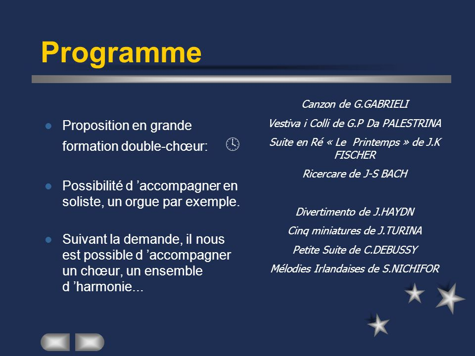 Programme Proposition en grande formation double-chœur: 