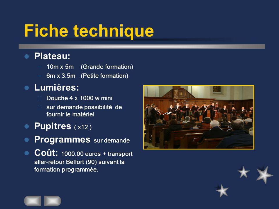 Fiche technique Plateau: Lumières: Pupitres ( x12 )