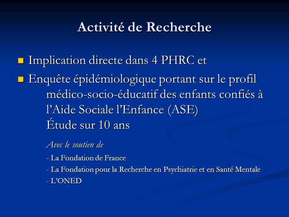 Activité de Recherche Implication directe dans 4 PHRC et