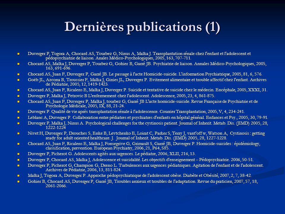 Dernières publications (1)