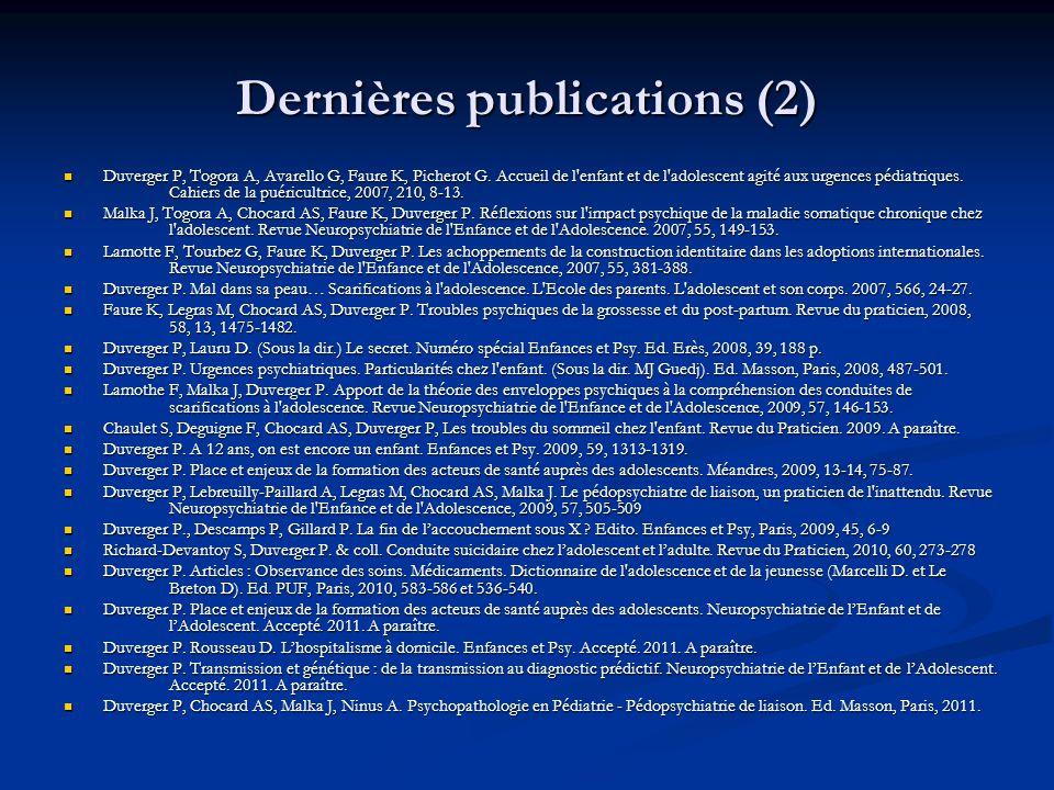 Dernières publications (2)