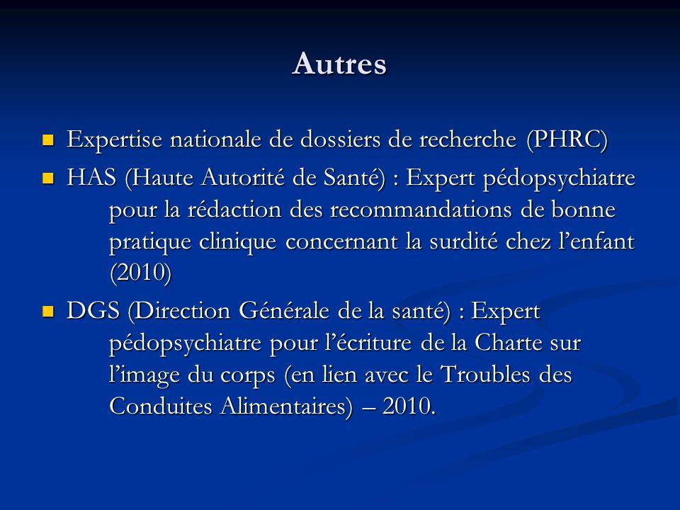 Autres Expertise nationale de dossiers de recherche (PHRC)